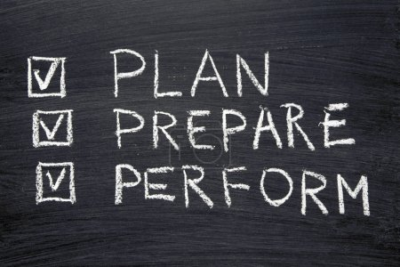 Photo for Plan, prepare, perform words handwritten on chalkboard with marked check-boxes - Royalty Free Image