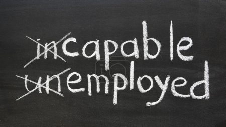 Photo for Change your way of thinking to be employed concept handwritten on the school blackboard - Royalty Free Image