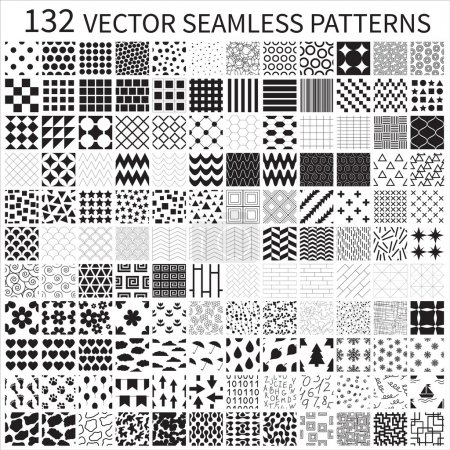 Illustration for Set of vector geometric, polka dot, floral, decorative patterns. - Royalty Free Image