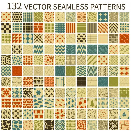 Illustration for Set of retro vector geometric, polka dot, floral, decorative patterns. - Royalty Free Image