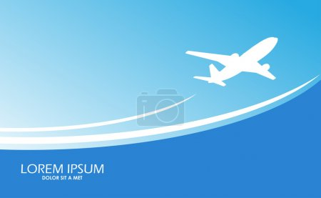 Illustration for Travel airplane ticket blue vector background - Royalty Free Image