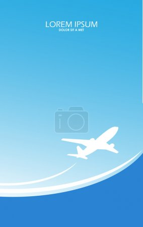 Travel airplane ticket blue vector background