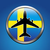 Airplane symbol with Sweden flag vector design