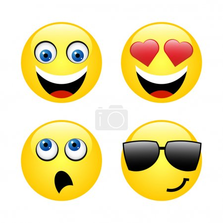 Illustration for Vector set - smiley faces expressing different feelings - Royalty Free Image