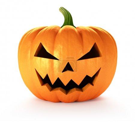 Scary Jack O Lantern halloween pumpkin, 3d render...