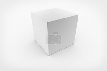 Photo for White cube on gray background. 3D render - Royalty Free Image