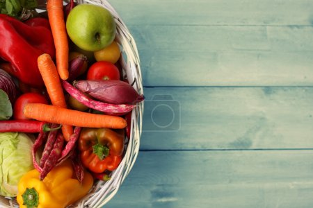 Photo for Photo of white basket with vegetables - Royalty Free Image