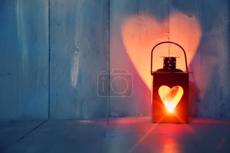 Photo for St Valentine's day greeting card with candle and hearts - Royalty Free Image