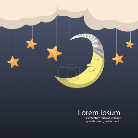 Illustration for Vector night scene with moon and stars - Royalty Free Image