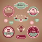 Set of vintage bakery labels vector illustration...