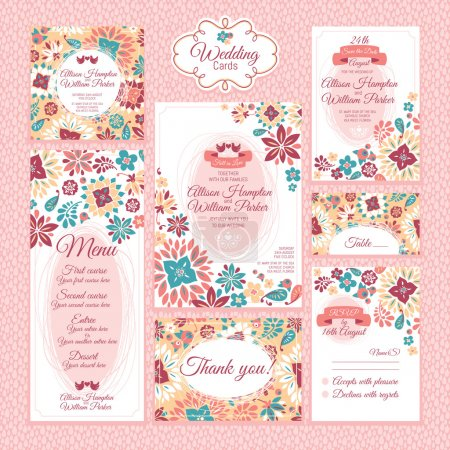 Illustration for Set of floral wedding cards vector illustration - Royalty Free Image