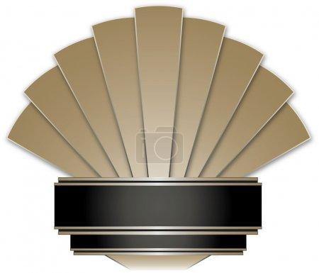 Illustration for Art Deco Stye Badge isolated against a white background - Royalty Free Image