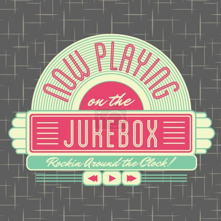 Illustration for 1950s Jukebox Style Logo Design - All fonts shown are for visual purposes only and freely availalble for open license use from sources such as google fonts. - Royalty Free Image
