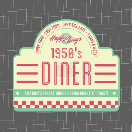 Illustration for 1950s Diner Style Logo Design - All fonts shown are for visual purposes only and freely availalble for open license use from sources such as google fonts. - Royalty Free Image
