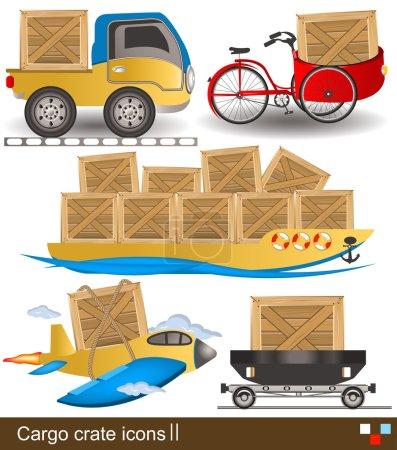 Illustration pour Collecte de différentes caisses de fret avec des icônes de transport . - image libre de droit