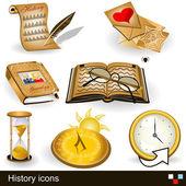 Illustration of history icons