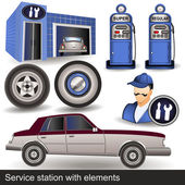 Illustration of a service station with different icons