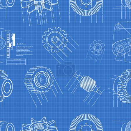 Illustration for Vector illustration of blueprint gears seamless pattern - Royalty Free Image