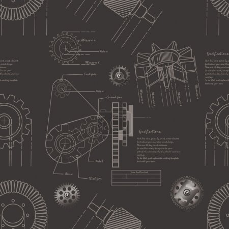 Illustration for Vector illustration of gears seamless pattern - Royalty Free Image