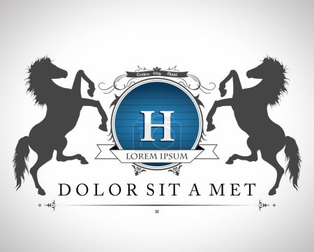 Photo for Vintage emblem with horses with a place for Your text - Royalty Free Image