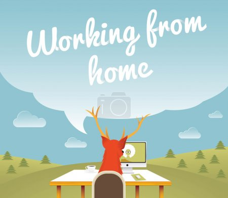 Working from home , Freelancer , vector illustration