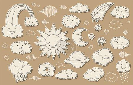 Illustration pour Doodle mignon ciel et le temps associés des éléments pour votre conception. - image libre de droit