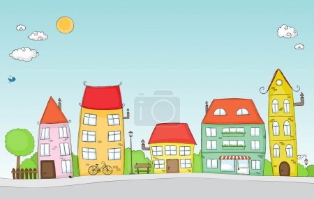 Illustration for Cute doodle of a colorful cartoon street - Royalty Free Image