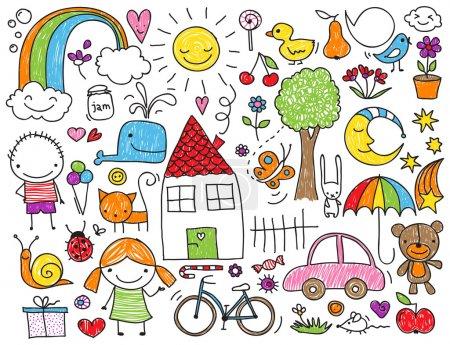 Illustration pour Collection de dessins d'enfants mignons d'enfants, animaux, nature, objets - image libre de droit