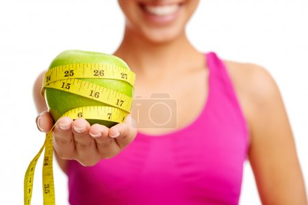 Photo for Healthy diet concept woman with apple - Royalty Free Image