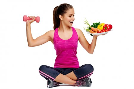 Photo for Woman with healthy eating and exercise for weightloss diet concept - Royalty Free Image