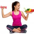 Woman with healthy eating and exercise for weightl...