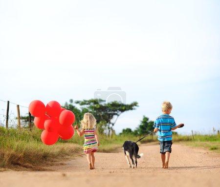 Children playing in summer
