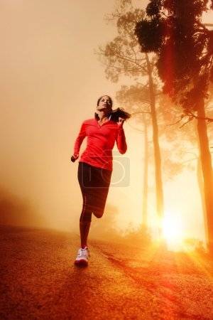 Photo for Athlete running on the road in morning sunrise training for marathon and fitness. Healthy active lifestyle latino woman exercising outdoors. - Royalty Free Image