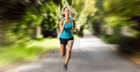 Photo for Large panorama image of athlete runner training outdoors. motion blur speed action image showing determination and athletic ability - Royalty Free Image