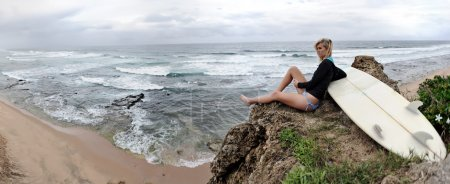 Surfer girl lifestyle panoramic