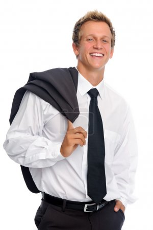 Smiling man with business suit in studio