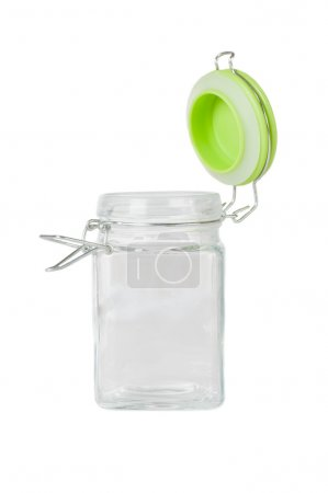 Photo for Empty glass jar on white background - Royalty Free Image