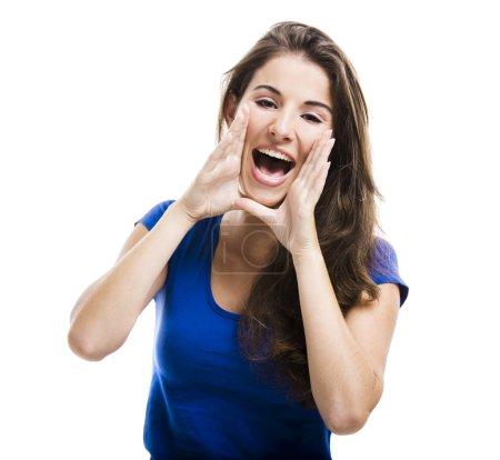 Photo pour Belle jeune femme crier, isolé sur fond blanc - image libre de droit