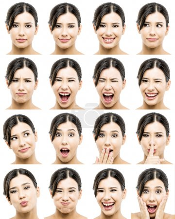 Photo for Multiple portraits of a beautiful asian women with different expressions - Royalty Free Image