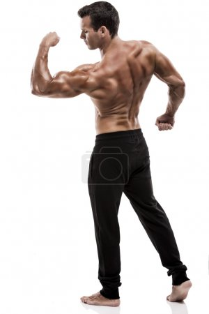Showing the biceps muscle