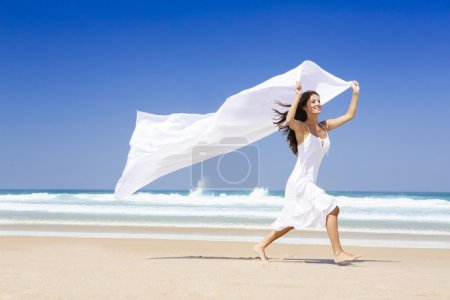 Jumping with a white scarf