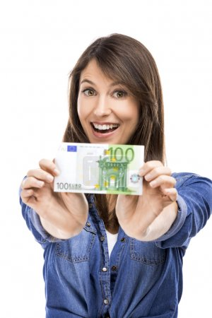 Woman, Euro currency notes