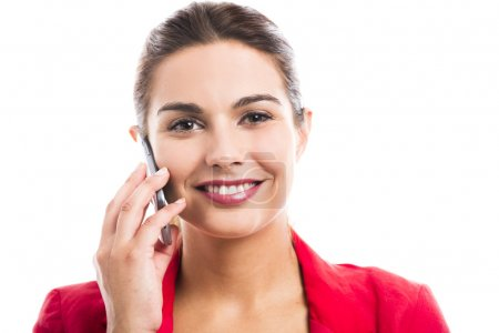 Foto de Mujer de negocios hablando en el teléfono, aislado sobre un fondo blanco - Imagen libre de derechos