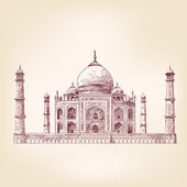 Taj Mahal India - vintage hand drawn vector illustration