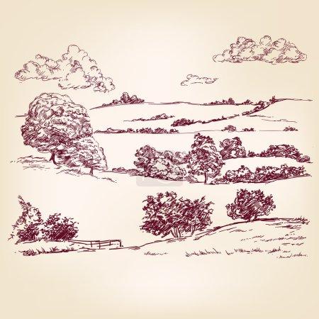 Illustration for Landscape hand drawn vector llustration sketch - Royalty Free Image