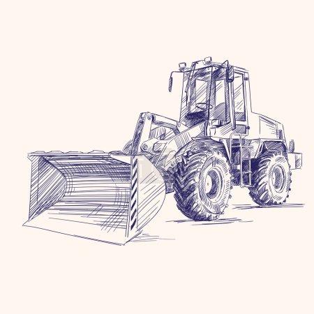 Illustration pour Chargeuse bulldozer pelle machine dessinée à la main vectoriel illustratio - image libre de droit
