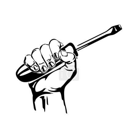 Illustration for Hand holding screwdriver vector black hand draw illustration - Royalty Free Image