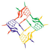 Hands holding each other in unity cartoon vector illustration