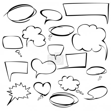 Illustration for Frames and bubbles collection cartoon vector illustration - Royalty Free Image