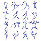 Abstract human figures in action icons collection vector illustration